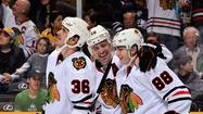 Chicago Blackhawks celebrate vs. Nashville