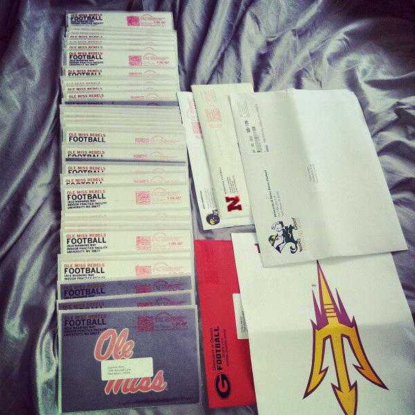 Clifton Garrett, a 6-foot-2, 218-pound linebacker from Plainfield South High in Plainfield, Illinois, received 54 handwritten letters from Ole Miss. He tweeted out the photo Saturday.