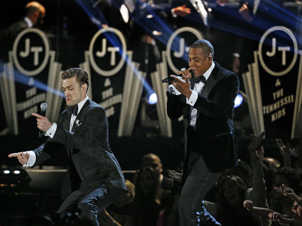"Justin Timberlake, left, performs ""Suit & Tie"" with Jay-Z at the 55th Grammy Awards on Sunday night."