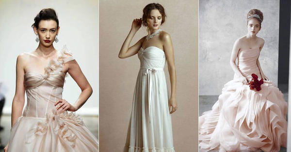 LEFT: Ines Di Santo strapless silk gazar gown with translucent bodice and lace-up detail in back, $7,700, inesdisanto.com; CENTER: BHLDN sheer pink ruched and pleated tulle column dress, $350, bhldn.com; RIGHT: White by Vera Wang strapless ball gown with satin corset bodice, draped tulle overlay and full tulle skirt with organza petals, $1,248, davidsbridal.com.