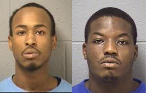 Booking photos of Anthony D. White, left, and Gregory A. Sellers from previous arrests.