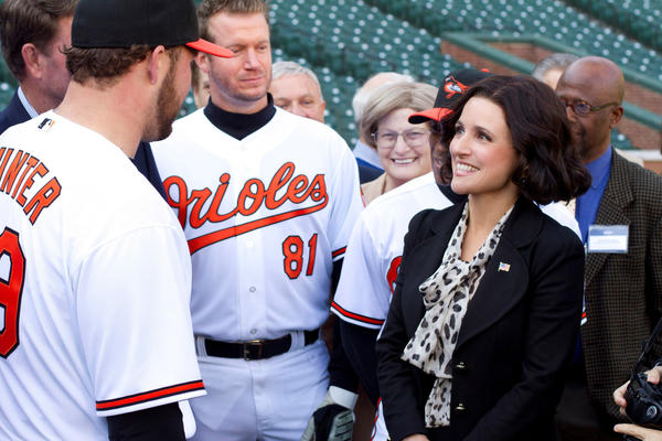 Julia Louis-Dreyfus as Vice President Selina Meyer in a scene shot last year at Baltimore's Camden Yards. The HBO series, which starts Season 2 on April 14, is made in Baltimore.