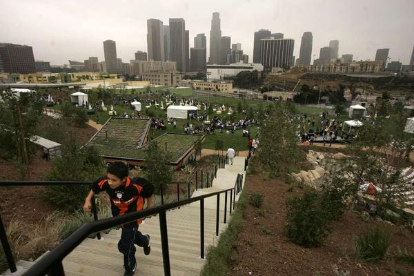 Fragrant California sages and other native plants were still babies when this photo was taken in 2008, shortly after the opening of Vista Hermosa Park.