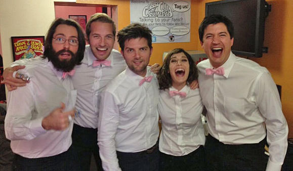 From left, Martin Starr, Ryan Hansen, Adam Scott, Lizzy Caplan and Ken Marino.