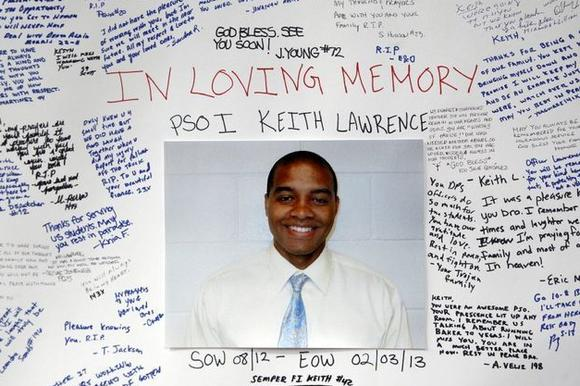 Memorial display for Keith Lawrence at USC.