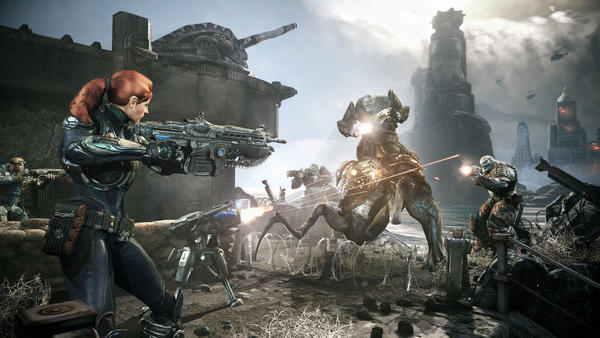 """This undated publicity photo released by Epic Games/Microsoft shows a scene from the video game """"Gears of War: Judgment."""""""