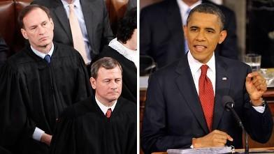 "During President Obama's first State of the Union address, Supreme Court Justice Samuel Alito was seen mouthing the words <a href=""http://youtu.be/xzP_s-Ynr0M"">""not true""</a> in response to the president's characterization of the Court's ""Citizens United"" ruling.  The moment received widespread coverage, a reminder that unexpected events in modern day State of the Union speeches can go viral instantly.  <a href=""http://youtu.be/L1PWQtCDaYY"">Watch the entire 2010 address here.</a>"