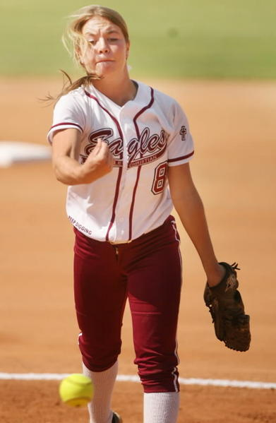 Kaley Bitterman, shown here during the Class 2A state championship game, had eight strikeouts for Pine Castle in a 5-0 loss to Olympia on Monday. (Stephen M. Dowell/ Orlando Sentinel)