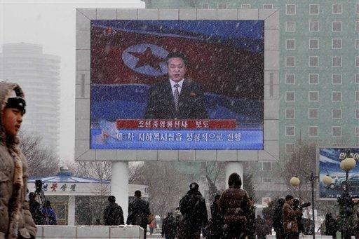 On a large television screen in front of Pyongyang's railway station, a North Korean state television broadcaster announces the news that North Korea conducted a nuclear test on Tuesday, taking an important step toward its goal of building a bomb small enough to be fitted on a missile that could reach United States.