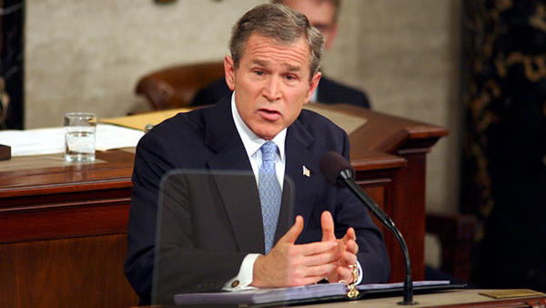 "In his first address, delivered just months after the September 11, 2001 terrorist attacks, George W. Bush's <a href=""http://youtu.be/N3Z3RpRYL8o"">""axis of evil"" remark</a> tied together Iran, Iraq and North Korea as countries pursuing chemical, biological, and nuclear weapons and having terrorist training camps.  In a sense, ""axis"" was a loaded term, since the Axis powers of Italy, Germany and Japan aligned against the U.S. and its allies in World War II.  Bush also declared the ""War on Terror"" against any nation harboring terrorists.  <a href=""http://youtu.be/HyryS3uefaY"">Watch the entire 2002 address here.</a>"