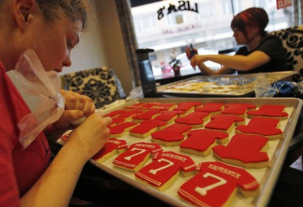 The production of Colin Kaepernick cookies kicked into high gear last month at Lisa's Cookie Jar in Turlock, where residents were crazy for Kaepernick, a local kid who quaterbacked the San Francisco 49ers in the Super Bowl.