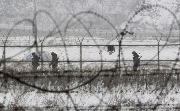 South Korean soldiers patrol near the demilitarized zone of Panmunjom, South Korea.