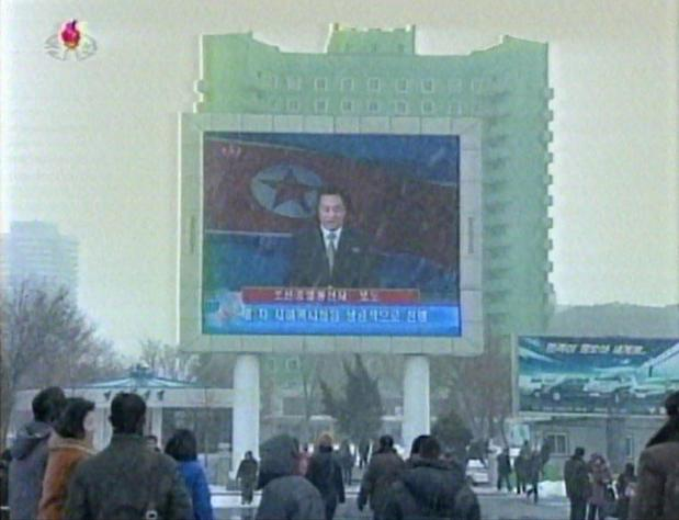"North Koreans watch an announcer reading a statement on the country's nuclear test on a large screen in front of Pyongyang's railway station. A defiant North Korea on Tuesday staged its most powerful nuclear test yet and warned of ""stronger"" action to follow if the ensuing wave of global condemnation translated into tougher sanctions."