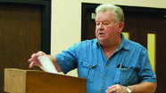 LANCASTER — In a repeat visit to the Fiscal Court, Garrard County resident Denny Ford came before magistrates Monday regarding a water runoff issue he faces on his property on U.S. 27 near Camp Nelson.