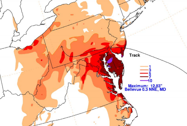 Superstorm Sandy's heaviest rainfall fell over Maryland, according to a National Hurricane Center report.
