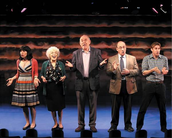 "From left: Audrey Lynn Weston, Marilyn Sokol, Lenny Wolpe, Todd Susman and Bill Army in the New York production of ""Old Jews Telling Jokes."""
