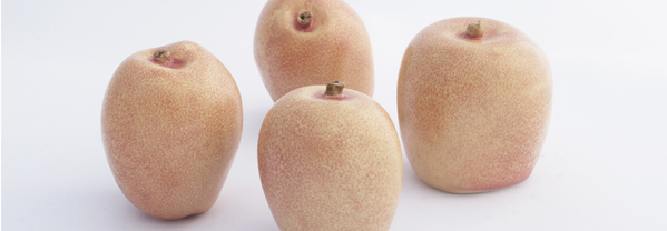 Kazakhstan Elite (pink), 2010. High-fire glazed porcelain, 4 apples at 3.5 x 2.5 x 3 in.
