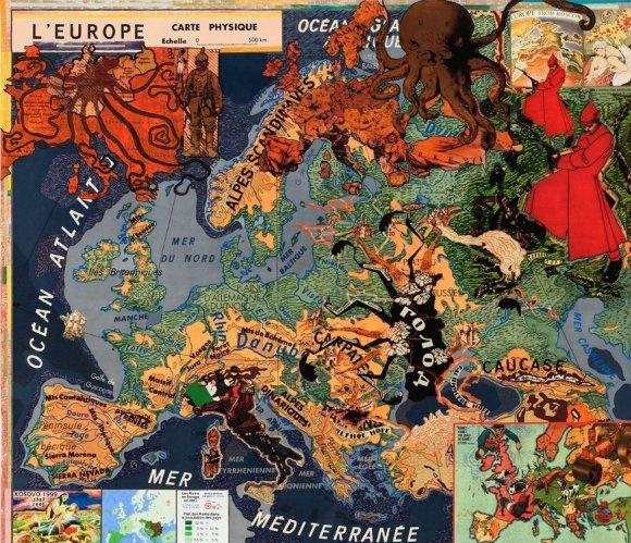 "Joyce Kozloff's collage ""Large Europe"""