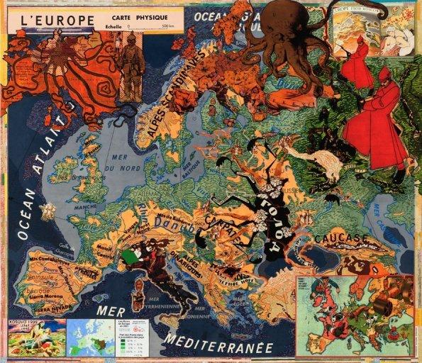 "Joyce Kozloff's ""Large Europe"" (2012), acrylic, collage and digital archival inkjet print, 59 3/4 inches by 69 inches."