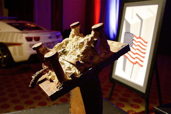 A piece of rubble from the World Trade Center at the Building to Remember Gala on Sunday.