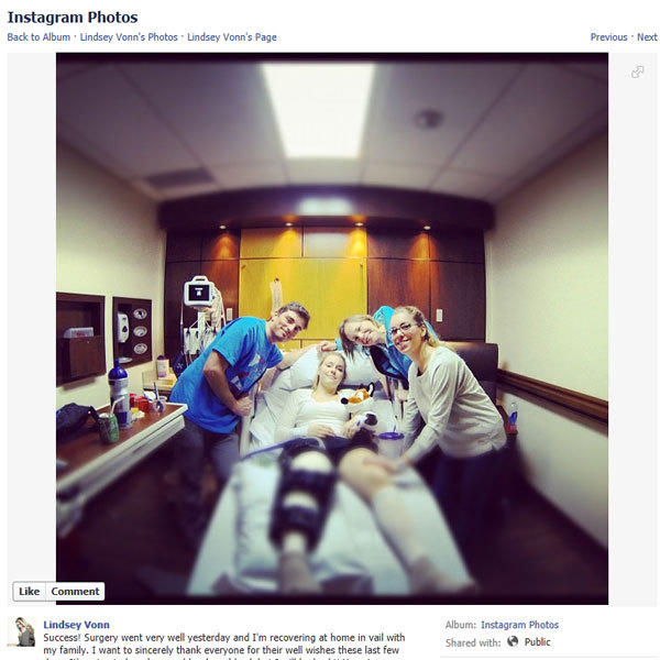 Skier Lindsey Vonn posted this photo of herself recovering from knee surgery Monday on Facebook.