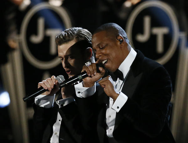 Justin Timberlake, left, and Jay-Z, shown during their Grammy Awards performance Sunday, may be going on tour together.