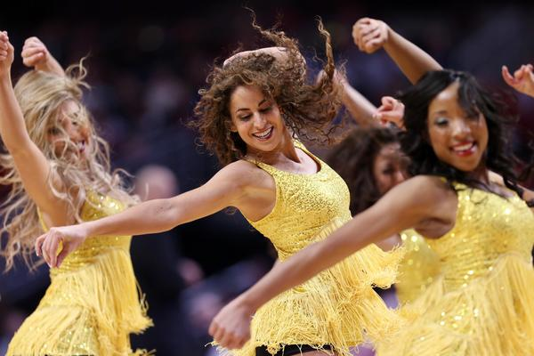 Chicago Bulls cheerleaders perform during the second quarter against the San Antonio Spurs at the United Center.