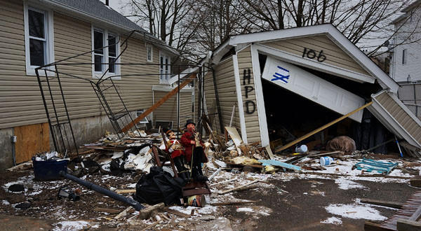 A destroyed home in Oakwood Beach on Staten Island.
