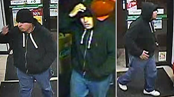 Surveillance images of a suspect in armed robberies in Chicago.