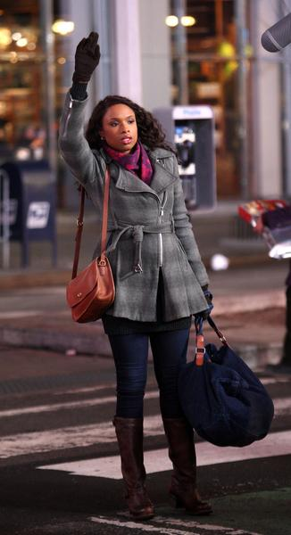 "Jennifer Hudson filming ""Black Nativity"" in New York City."