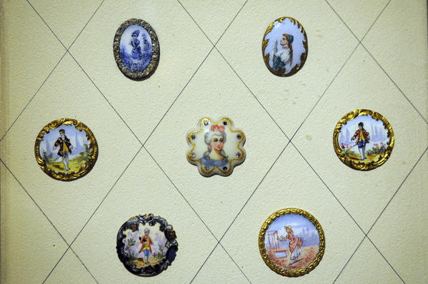 Decorative porcelain buttons are among the 10,000 buttons on display at the Button Museum at the Mattatuck Museum in Waterbury.