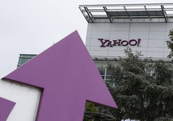 The Yahoo logo is displayed in front of the Yahoo headquarters in Sunnyvale, Calif.