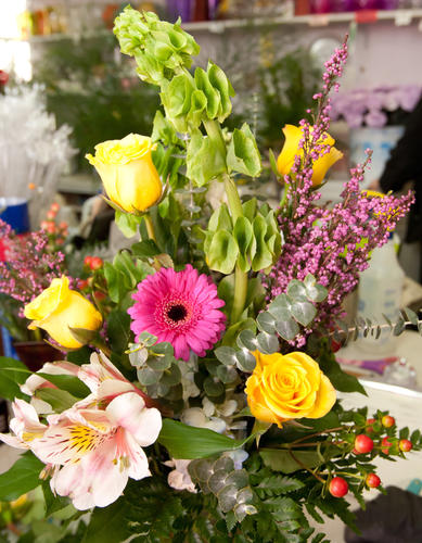 A finished arrangement awaits wrapping after the creative touch of the floral designers at Mycalyn Florals on Main Street in Nazareth on Tuesday. With Valentines Day arriving on Thursday, local stores are ramping up to put together arrangements for their clients.