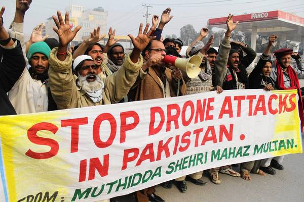 Pakistanis protest a U.S. drone strike in January in the North Waziristan region.