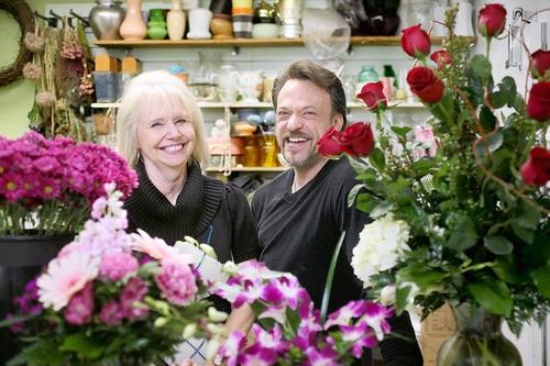 Co-owner Carmen Fober, left, and floral and jewelry designer Joel Carpenter at Love N' Bloom in Huntington Beach.