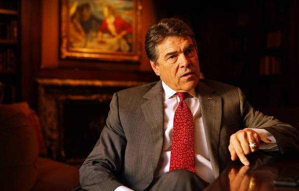 """""""You fish where the fish are,"""" says Texas Gov. Rick Perry, talking about his campaign to lure California businesses to his state during an interview in Beverly Hills."""