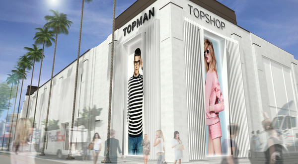 An artist's rendering of the new Topshop Topman West Coast flagship at The Grove in Los Angeles. Opening day is Thursday.