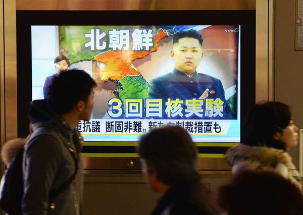 In Tokyo, a news report on North Korea's third nuclear test draws an audience.