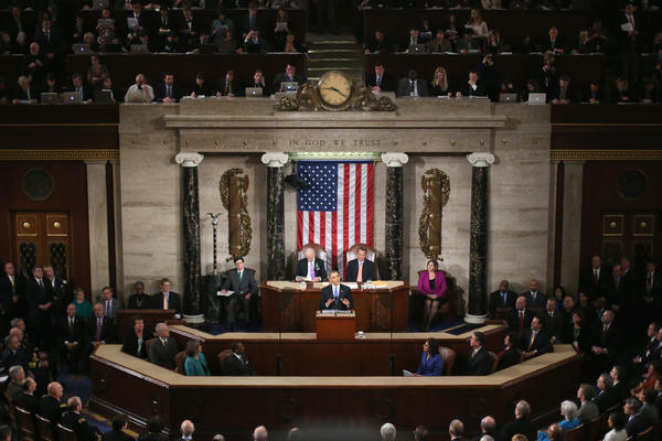 President Obama delivers his State of the Union speech before a joint session of Congress.