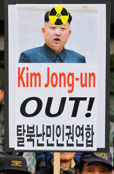 South Korean activists protest North Korean leader Kim Jong Un and his country's nuclear ambitions during a recent rally in Seoul, the South's capital. Tuesday's nuclear test made clear that Kim is not intent on taking his nation down a less confrontational path.