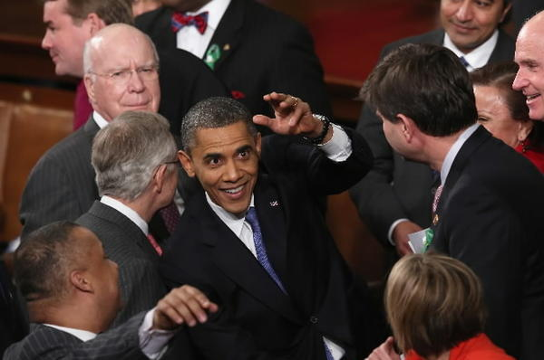 President Barack Obama greets members of Congress after his State of the Union speech before a joint session of Congress at the U.S. Capitol February 12, 2013 in Washington, DC.