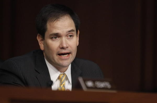 U.S. Senator Marco Rubio (R-FL) is pictured questioning Deputy National Security Adviser John Brennan during a Senate Intelligence Committee hearing on Brennan's nomination to be the director of the CIA, on Capitol Hill in Washington, in this February 7, 2013 file photo.