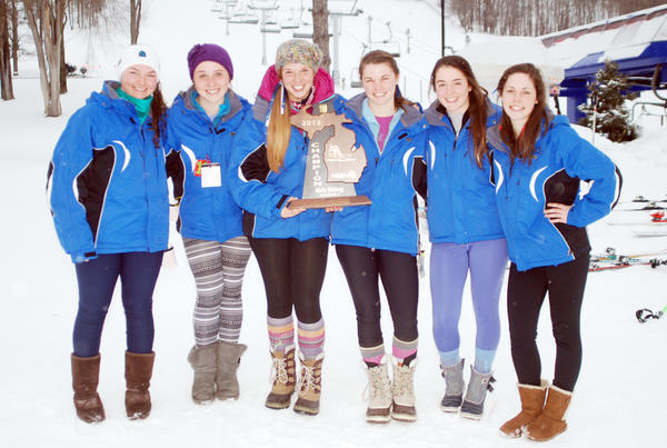 The Petoskey High School girls ski team captured the Division II regional Tuesday at Boyne Mountain. Team members are (from left) Mia Cicorretti, Makayla Nayback, Reilly Philliben, Lisa Dinon, Jill Antonishen and Claire Brummler.