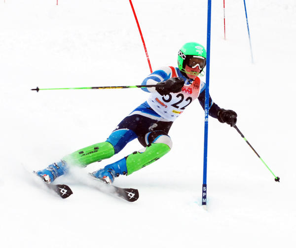 Petoskey junior Gunnar Lundteigen works his way down the slalom course during Tuesdays Division II regional at Boyne Mountain. Lundteigen won both the slalom, 1 minute, 12.08 seconds, and the giant slalom, 58.54 seconds, as the Northmen earned a third straight regional title.