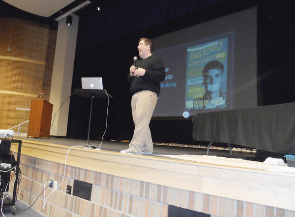 Jason Raitz, founder of Live Now Leadership, presents his Choose Kindness Now program to Petoskey High School students. The program is intended to help end bullying.