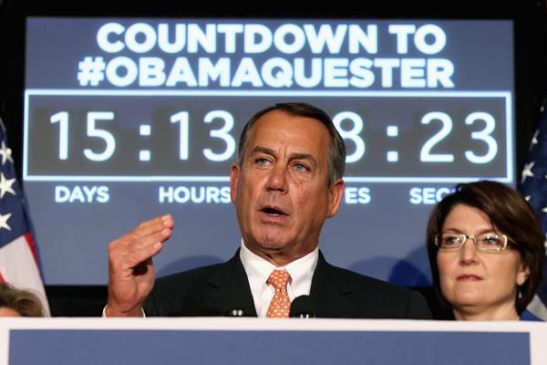 House Speaker John A. Boehner (R-Ohio), at the Republican Party headquarters on Capitol Hill, speaks in front of a countdown clock to March 1, when automatic spending cuts will take effect if an alternative is not found.