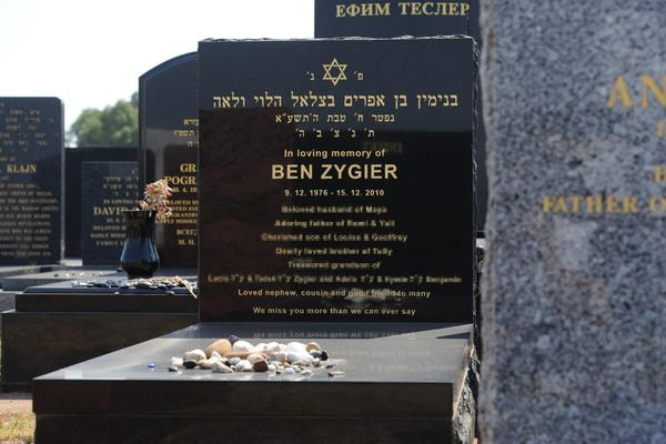 The headstone of Ben Zygier, known in Israel as Ben Alon, at the Chevra Kadisha Jewish Cemetery in Melbourne, Australia. Foreign Minister Bob Carr said he was troubled by reports that Zygier was found hanged in a high-security Israeli prison in 2010.