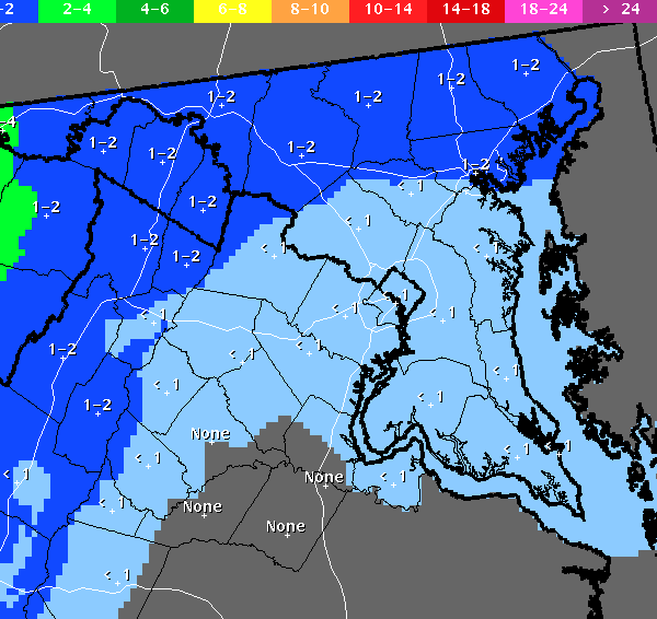 Light, wet snow mixed with rain is expected Wednesday night into Thursday morning across Maryland.