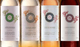 Wines produced at Château Miraval, the Provence estate owned by Angelina Jolie and Brad Pitt. The Perrin family of Château de Beaucastel in Châteauneuf-du-Pape will be making the wines with the Jolie-Pitts.