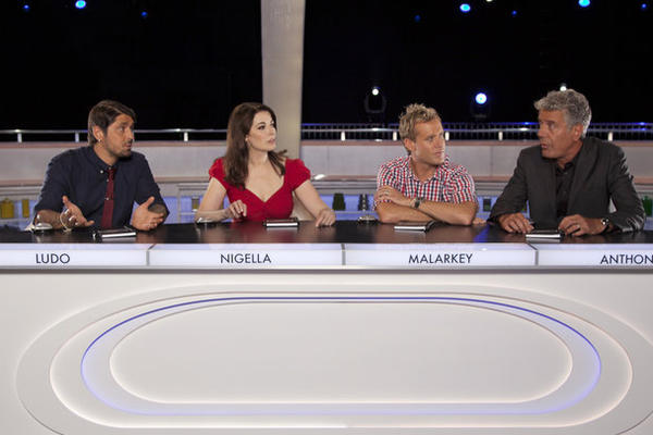 "From left, Ludo Lefebvre, Nigella Lawson, Brian Malarkey and Anthony Bourdain on ABC's ""The Taste."""